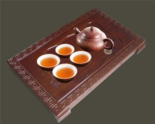美万家 茶具 茶盘 高档竹制题诗茶盘【古典回纹】