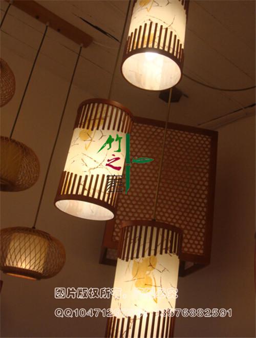 定制竹吊燈高品質餐廳燈三頭環保簡約節能圓形竹吊燈具