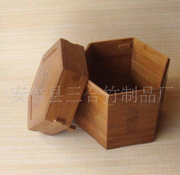 供应优质竹酒盒 竹制六角竹盒 酒盒
