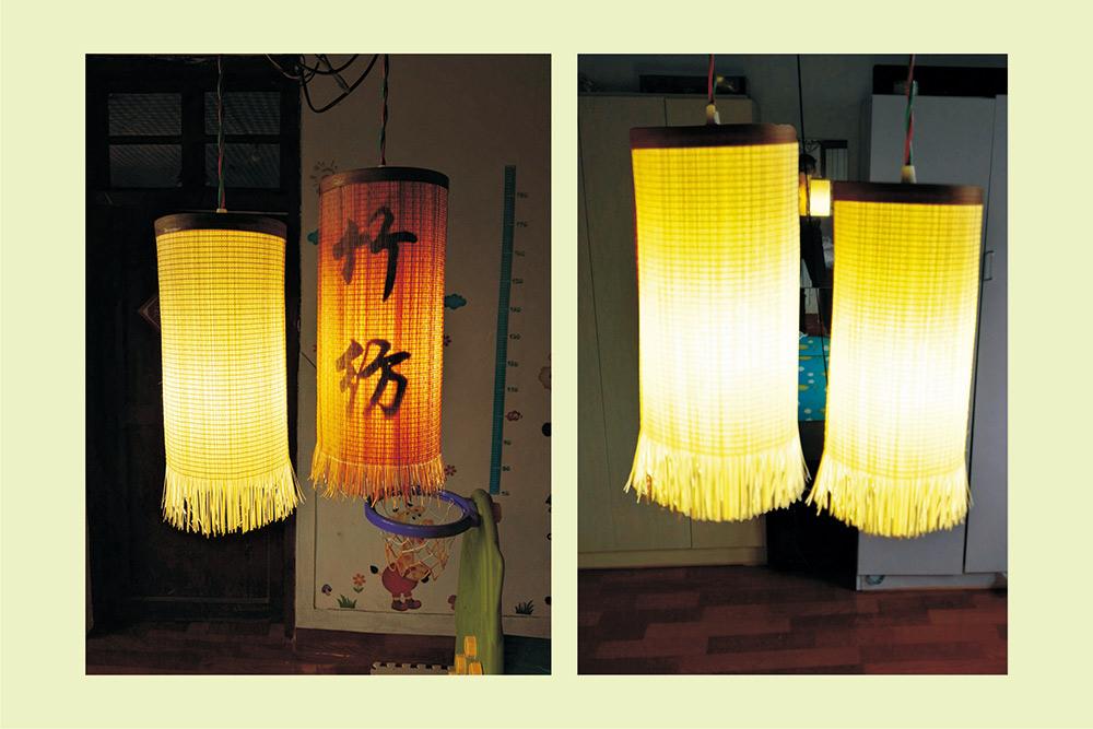 竹編燈 竹燈 直徑14cm高30cm竹頭