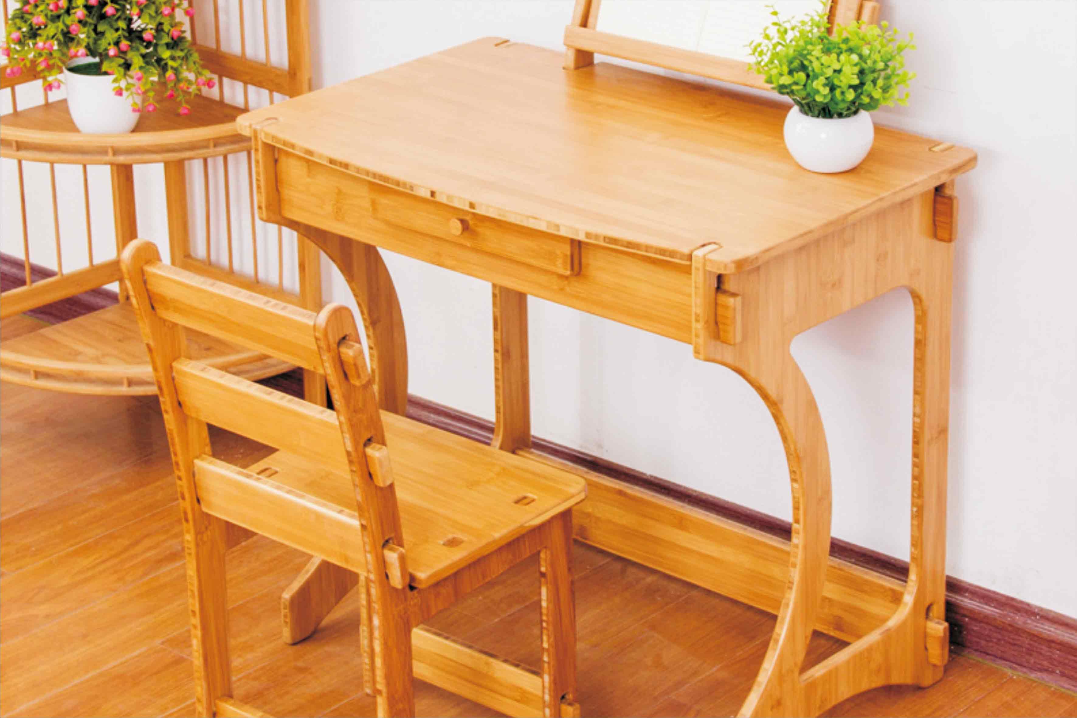 楠竹書桌 兒童學習全套竹桌椅 書房兒童家具批發支持定制