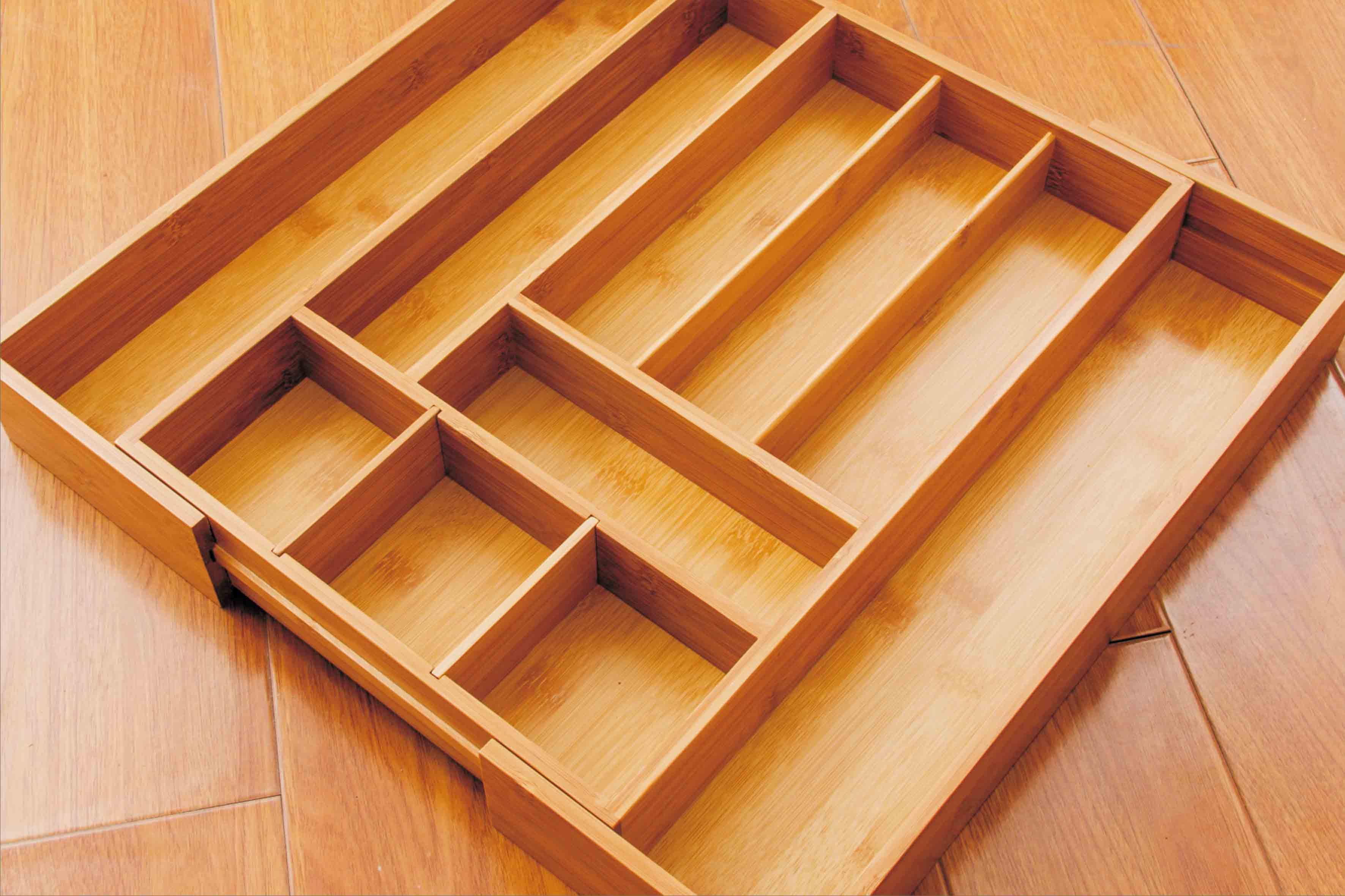 可伸缩竹制品收纳盒 单层收纳箱可摆放各种小物件