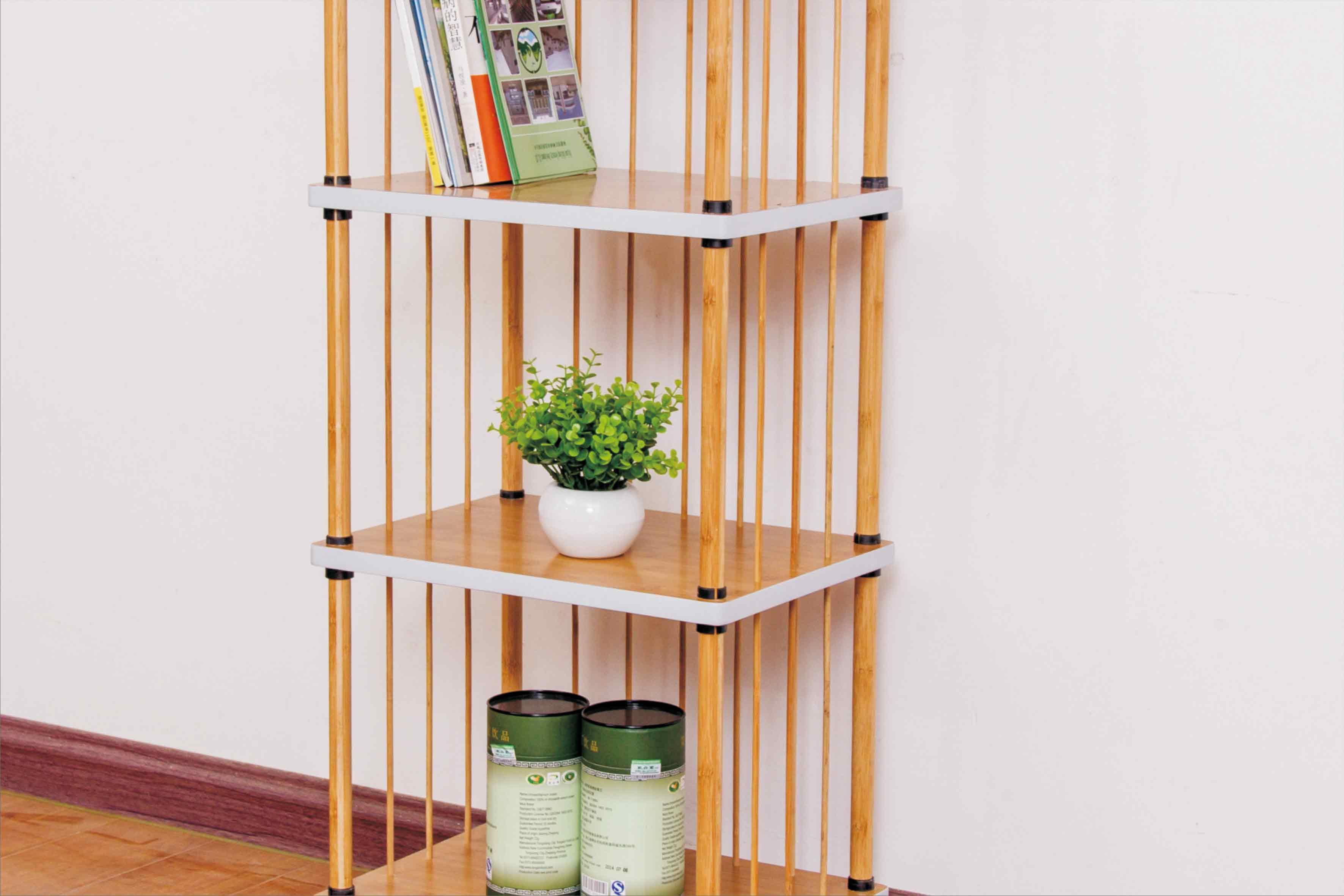 简约现代书架 楠竹创意置物架批发 无金属结构收纳架