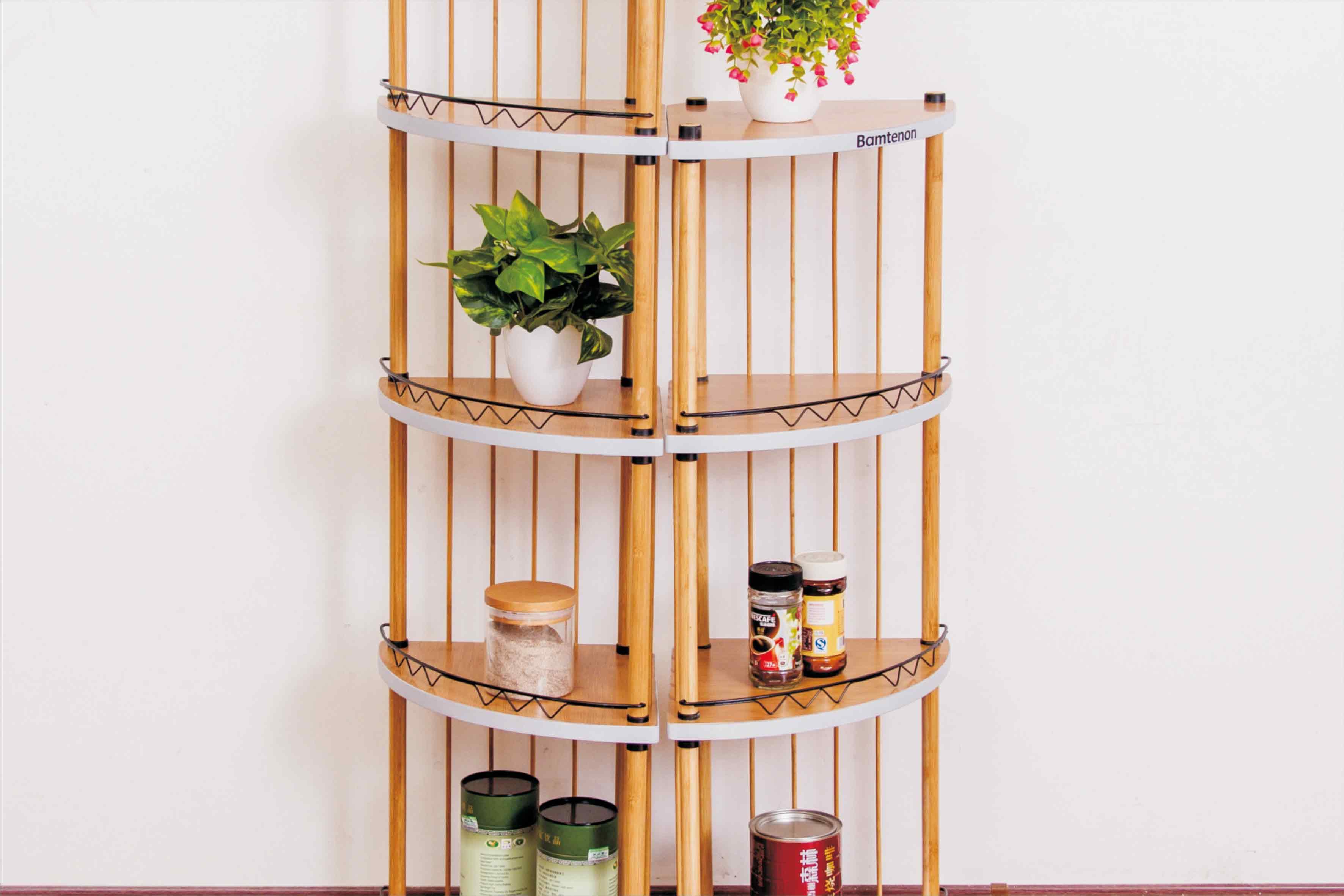 多功能收纳层架 厨房置地式转角架 厂家批发楠竹商品架子