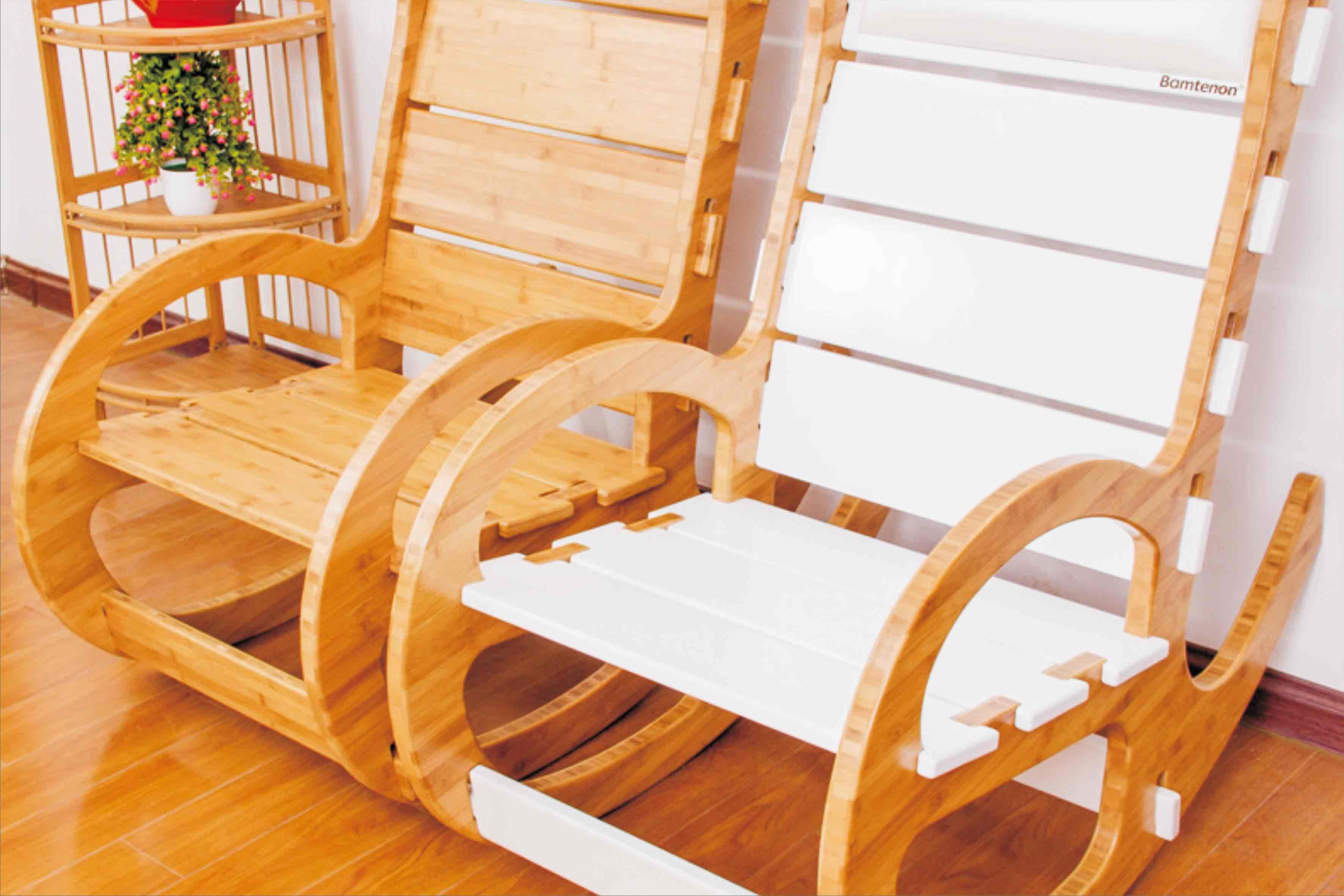 楠竹摇椅 无金属全竹拼接椅子 老人皮垫休闲逍遥椅批发