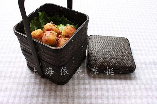 手提竹制日式食盒