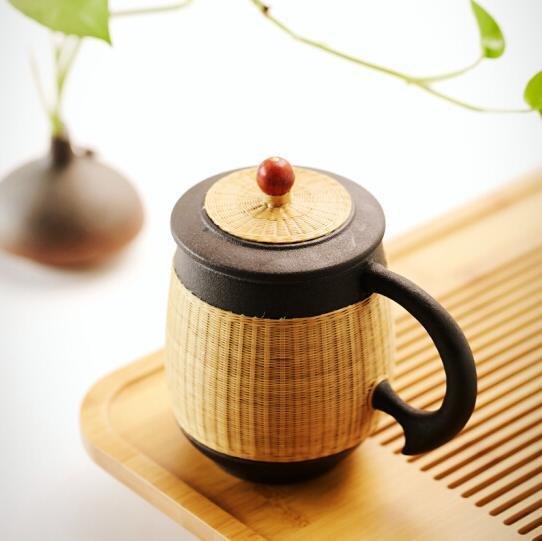 瓷胎竹编全手工陶茶杯带盖内胆过滤茶杯