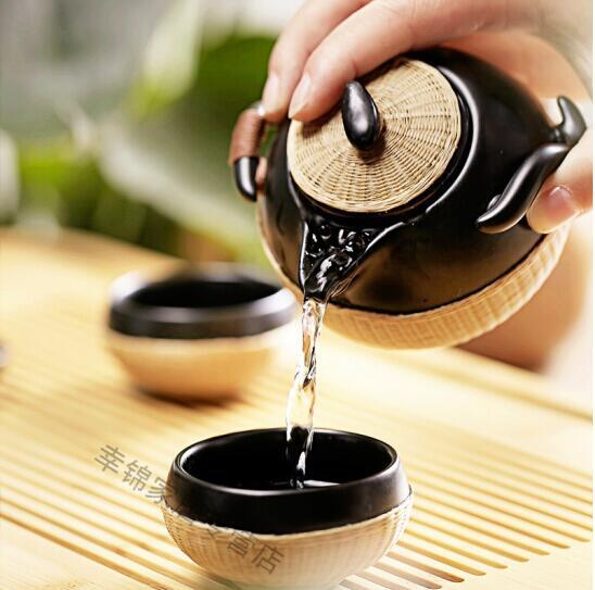 瓷胎竹编 功夫便携茶盘一壶两杯带旅行包泡茶,快客杯旅行茶具