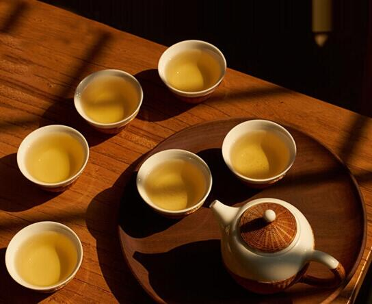 瓷胎竹编竹丝扣瓷茶具套装,家用办公茶壶茶杯泡茶器