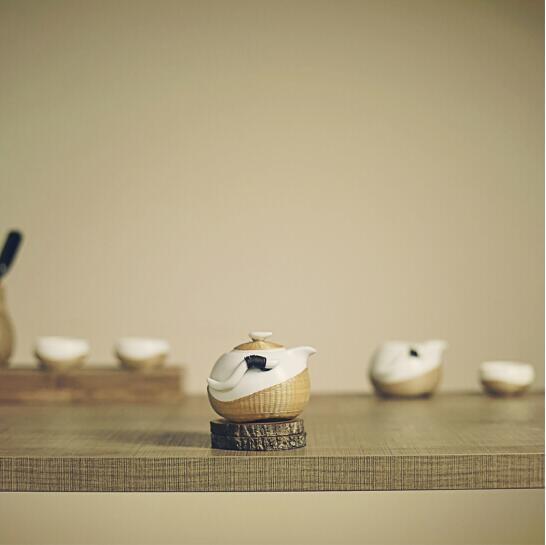 瓷胎竹編茶具整套茶道家用茶杯套件