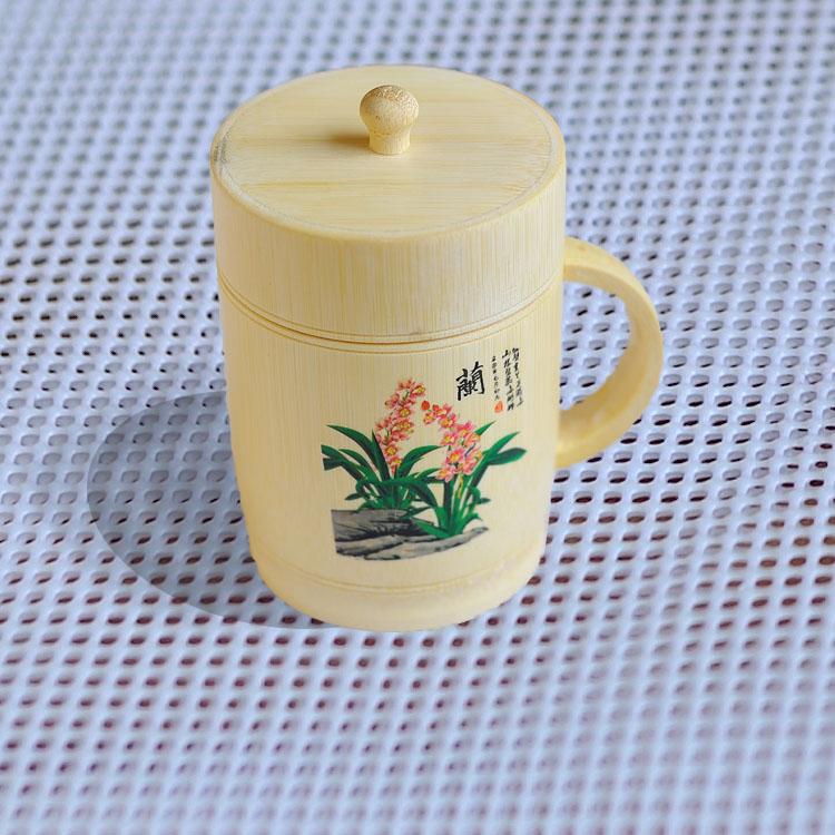 竹原色茶杯,天然竹杯,兰花竹杯