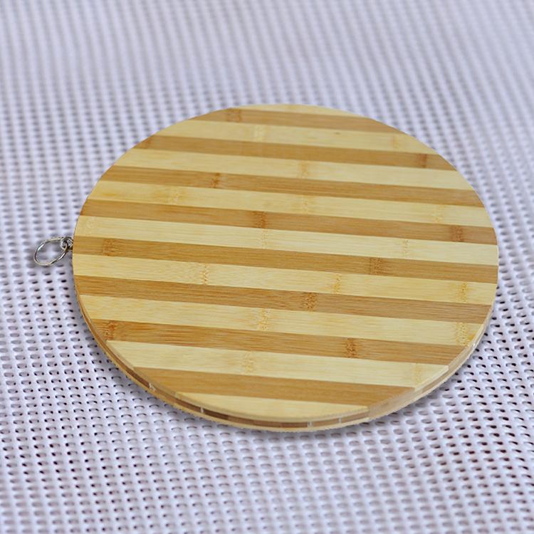 雙色圓形竹制菜板,切水果可掛方便