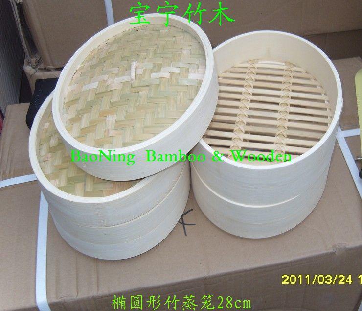 橢圓形竹蒸籠26cm