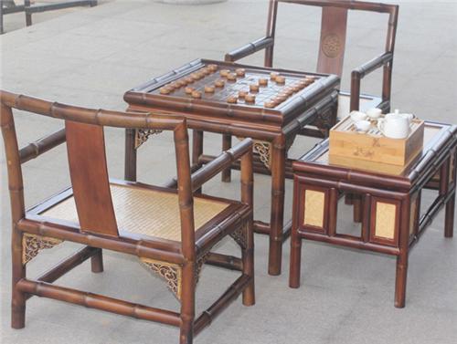 特價新款茗竹MZ77明清古典象棋圍棋棋桌茶桌仿古休閑原竹家具套裝