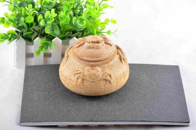 中國銘雕坊竹根螃蟹籃子創意純手工廠家直銷家居禮品高檔富貴熱賣