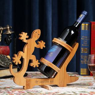 实用竹制红酒架热销时尚家居摆件天鹅款创意红酒架