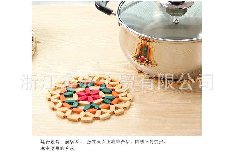 鑫光歐式鏤空竹制碗墊 家居餐具隔熱墊 圓形盤子竹墊花色鍋墊子