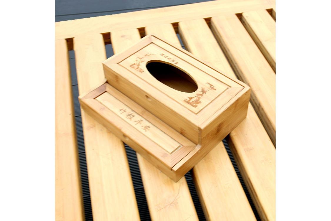 純手工竹制抽紙盒 精致耐用茶樓藝術個性抽紙牙簽盒