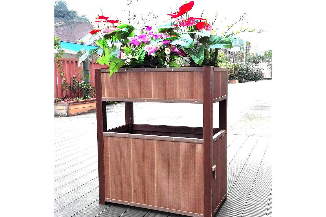 竹纖維環保綠植兩用垃圾桶 小區果皮箱 公園保潔箱 生態竹制品箱