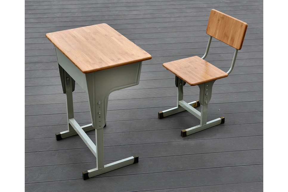 竹制学习桌椅学生单双人课桌套装学习用具 厂家直销