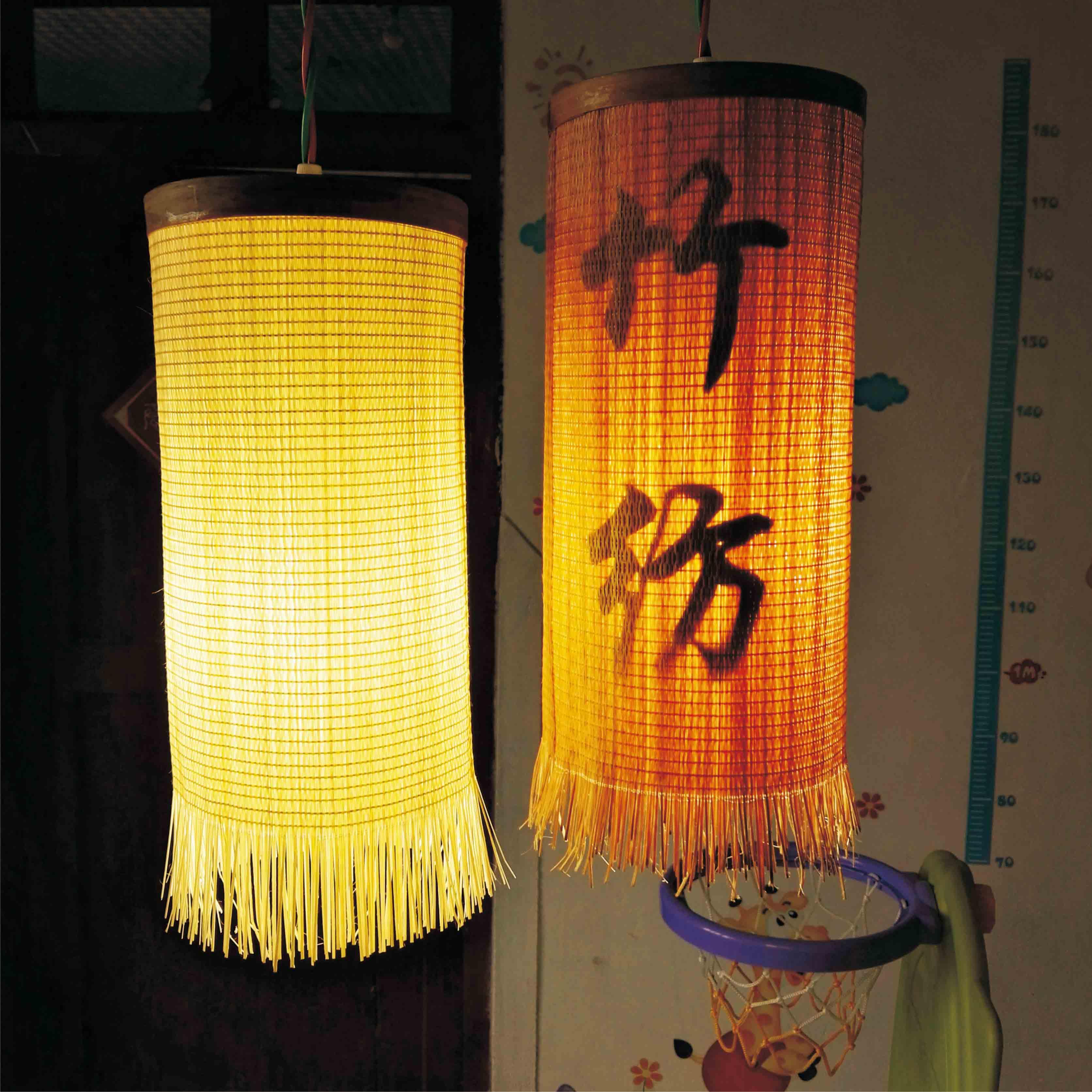.燈罩臥室陽臺餐廳竹編燈竹藝吊燈 方形14cm高30cm鐵藝帶絲
