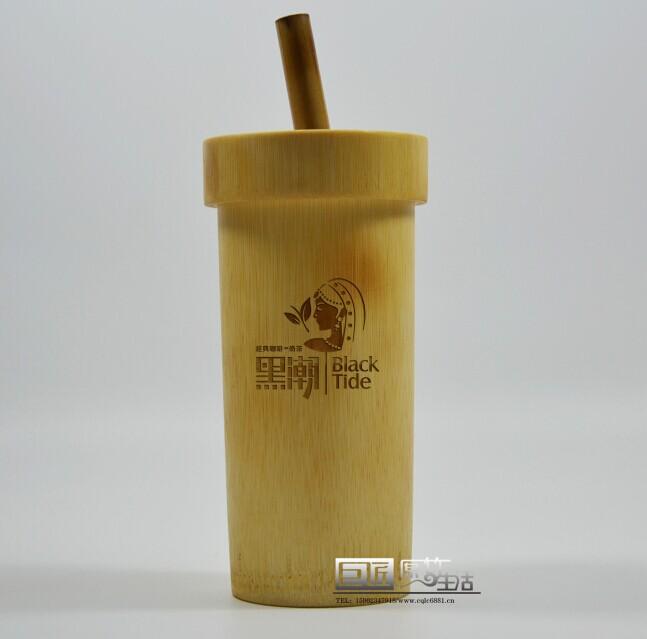 定制天然竹子特色竹奶茶杯竹子果汁杯飲料竹杯竹吸管環保不燙手