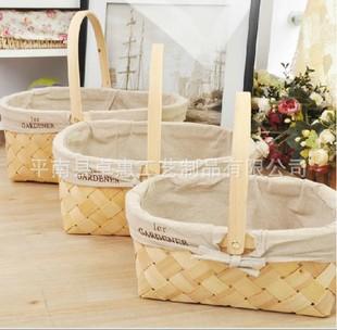 广西竹编厂专业手工编织各种水杉木片花篮|果篮|鸡蛋篮定做