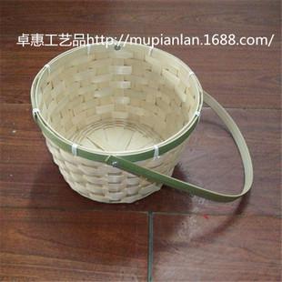 手工编织款式多样|定做圆形竹编鸡蛋篮子|各种竹篮礼品包装等